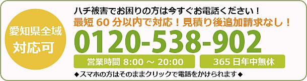 鹿児島県蜂駆除・巣の撤去電話お問い合わせ「0120-538-902」